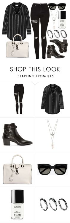 """Style #10003"" by vany-alvarado ❤ liked on Polyvore featuring Topshop, Equipment, Yves Saint Laurent, Gypsy Warrior, Chanel and DesignSix"
