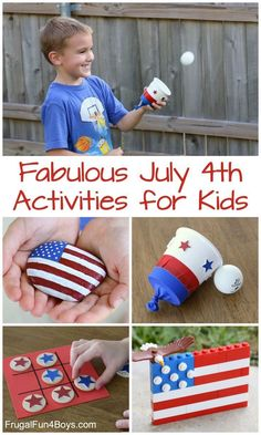 Fabulous July 4th Activities for Kids - Patriotic painted rocks, ping pong ball shooter, games, and more. 4th July Crafts, Fourth Of July Crafts For Kids, 4th Of July Games, Patriotic Crafts, 4th Of July Celebration, 4th Of July Party, July 4th, Summer Crafts, Holiday Crafts