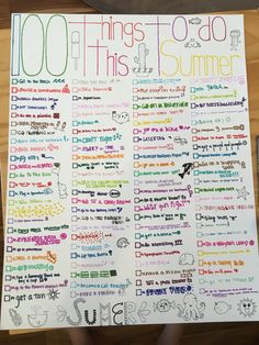 100 things to do this summer!!