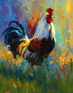 The painting style in the background check out chicken art Rooster Painting, Rooster Art, Chicken Painting, Chicken Art, Oil Painting On Canvas, Canvas Art, Painting Art, Pictures To Paint, Acrylic Art