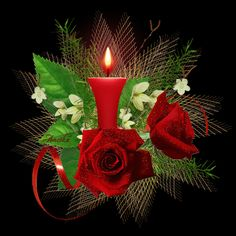 piros rózsás gyertya 1.gi Good Night Love Messages, Good Night Gif, Good Night Wishes, Good Night Sweet Dreams, Good Night Image, Merry Christmas To All, Christmas Candles, Beautiful Bouquet Of Flowers, Beautiful Roses