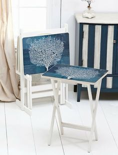 Completely Coastal Decorating Blog: Painted TV Tray Tables with a Beach & Nautical Theme