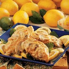 Lemon Cream Chicken.  Easy, yet special enough for company.  You can sub. fat free half and half for the cream with great results.