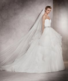 Pronovias Ivory White Long Tulle Cathedral Length with Gemstone Trim and Clear Comb Bridal Veil off retail Sweetheart Wedding Dress, One Shoulder Wedding Dress, Albania, Nylons, Beautiful Wedding Gowns, Wedding Veil, Pronovias Wedding Dress, Bridal Dresses, Ball Gowns
