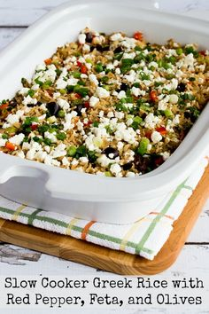 up the house, this Slow Cooker Greek Rice with Red Bell Pepper, Feta ...