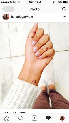Hello tiny tattoo with big meaning. Triangle tattoo I got done on my 21st birthday