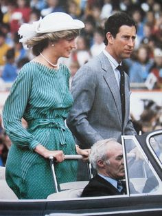 April 18, 1983: Prince Charles & Princess Diana at a dancing display by the Maori Communities at Eden Park Stadium in Auckland, New Zealand.