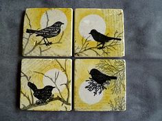 Bird & Branch Hand-Stamped Marble Tile Coasters, Boxed Set of 4, Yellow/Gray. $24.00, via Etsy.