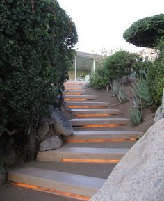 Low-profile contemporary stair lighting under treads of outdoor ...