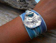 Namaste Yoga Jewelry Silk Ribbon Wrap Bracelet by HappyGoLicky, $49.00