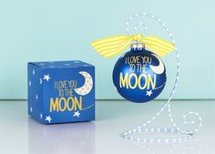 I Love You To The Moon Ornament | underthecarolinamoon.com #cotoncolor #cotoncolorschristmas #cotoncolorsornaments #utcm #underthecarolinamoon #christmasornament #loveyoutothemoon
