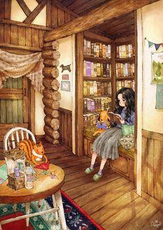 작은 나무집 안에서 한가로이 휴식을 즐겨요. Let's get some rest peacefully inside a tiny wooden house.