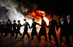 New York, US: Orthodox Jews of the Satmar Hasidim celebrate the Jewish holiday of Lag BaOmer in the village of Kiryas Joel. Lag BaOmer marks the anniversary of the death of Talmudic sage Rabbi Shimon Bar Yochai approximately 1900 years ago-Photograph: Mike Segar/Reuters