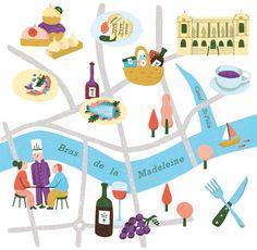 Popy Matigot Line Illustration, Kids Rugs, Map, Character, Inspiration, Inspired, Decor, Madeleine, Illustrated Maps