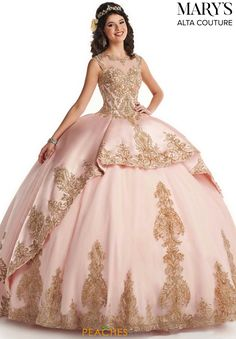 Marys Bridal Quinceanera Couture Dresses dress with Style - Fabric - Mikado/Tulle/Applique and Color - Champagne/Gold or Blush/Gold Xv Dresses, Quince Dresses, Couture Dresses, Dresses For Sale, Prom Dresses, Fashion Dresses, Women's Fashion, Tulle Ball Gown, Ball Gowns