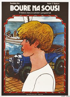 Movie poster for children adventure Storm on the Land designed by Vratislav Hlavatý, 1976. #movieposter #poster #illustration #kidsposter