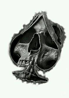 ace of spades skull tattoo Tattoo Design Drawings, Skull Tattoo Design, Skull Design, Skull Tattoos, Tattoo Sketches, Body Art Tattoos, New Tattoos, Tattoos For Guys, Sleeve Tattoos