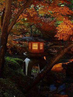 Japanese lantern at Happō-en, Tokyo, Japan
