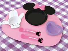 New! Disney Minnie Mouse Baby Feeding Tray plate, fork & spoon from JAPAN