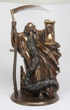 Chronos Father Time w Scythe and Hourglass Roman Greek Mythology Figurine Statue   eBay