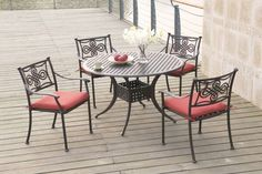 Daily Deals!  202 5 pc outdoor set  $669.00  Set the mood at sunset with this amazing 5-piece dining that feature a table and seating for four. Each chair features Celtic inspired pattern on the back support with coral colored seat cushions. All furnishings are rust-free with material that is also weather, fade, and heat resistant.  P50201 Table x 1 P50101 Chair x 4