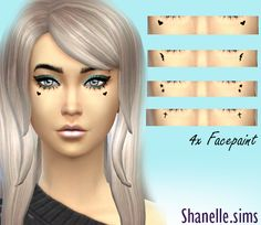 cute facepaint 4 x designs, separate downloads by shanelle-sims xx download hearts download bolts download stars download cross