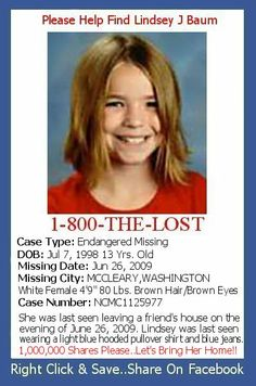 missing children from 2012 | Posters To Help Find Missing Children: Lindsey Baum