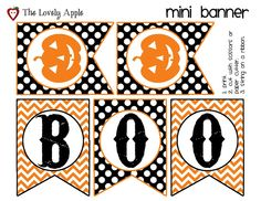 Free Printable!!!  Mini Halloween Banner by The Lovely Apple
