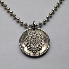 1889 Germany 5 Pfennig coin pendant necklace UNCIRCULATED jewelry Imperial eagle bird large shield coat of arms German Deutschland No.001282 by acnyCOINJEWELRY on Etsy