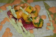 Seared ahi tuna fish tacos with mango salsa and chipotle sour cream sauce - oh my goodness looks amazing!