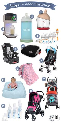 Everything you need for Baby's first year: 1. mimijumi Not-So-Hungry Baby Bottle, 2. Adiri Blue NxGen™ Stage Three Nursing Bottle, 3. Bottle Genius™ Formula Mixer, 4. LATCH™ Newborn Bottle Gift Set, 5. Lamont Alpha Omega Elite™ Convertible Car Seat, 6. Bubble Bum Black Booster Seat, 7. Caribbean Blue 3D-Lite™ Convenience Stroller, 8. Cuddle Monster Supa Stroller, 9. Rose Pink Rosette Car Seat & Stroller Canopy, 10. Blue One Z Nursing Pillow, 11. Peg Pérego Fucsia Book Stroller, 12. Natural…