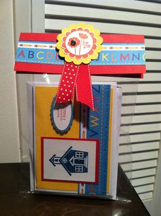 Cute Teacher Gift.... Package of 4 handmade cards with matching envelopes.