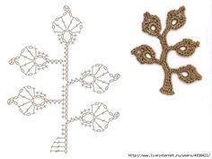 Crochet: Flowers and motifs Crochet Seashell Applique, Crochet Tree, Crochet Leaves, Freeform Crochet, Crochet Motif, Irish Crochet, Crochet Flowers, Crochet Leaf Patterns, Crochet Chart