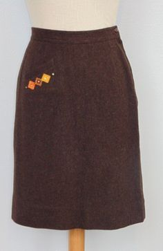 50's Brown wool pencil skirt with diamond and by MillerAndCampbell, $42.00