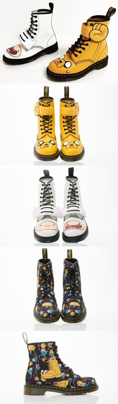 My Hat Is Awesome!: Adventure Time Themed Dr. Martens  This are the Adventure Time themed Dr. Martens coming out next month. They cost $130 - $150 depending on the style and come in Jake, Finn, and little pictures of both. Read More http://geekologie.com/2015/02/my-hat-is-awesome-adventure-time-themed.php