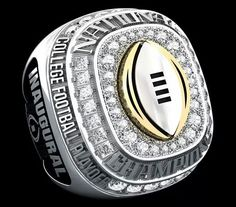 This is the inaugural College Football Championship ring all players and coaches of the winning team will receive. College Football Championship, College Football Season, Football Gear, Championship Rings, Ohio State Football, National Championship, Bama Football, American Football, Sports Trophies