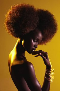 Ataui Deng 21 - fashion model, born in Khartoum, Sudan, also the niece of Sudanese-British fashion model Alek Wek. In 2004 she and her family moved to San Antonio, TX and four years later she started modeling. This photo was taken by Elle Muliarchyk (Management Artists) to capture stunning hair styles for a beauty story featured in the spring-summer issue of Garage Magazine 8/2012.