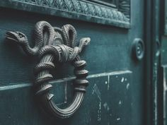 Speak, friend, and enter - The Collectors House (The door Knockers were two serpents wrapped around a ring. Draco Malfoy Aesthetic, Slytherin Aesthetic, Harry Potter Aesthetic, Slytherin House, Slytherin Pride, Ravenclaw, Harry Potter Houses, Hogwarts Houses, Casas Estilo Harry Potter