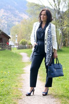 Office Style in a Blue Jumpsuit