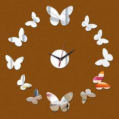 Venda quente 2015 moda promoção de luxo moderno relógio de quartzo real parede de acrílico espelho de cristal 3d relógios frete grátis alishoppbrasil