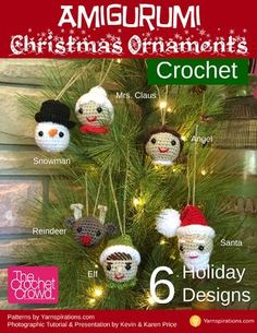 Crochet Christmas Ornaments - 6 Designs  Decorate your Christmas Tree with an Exclusive Crochet Crowd Workbook created by Kevin and Karen Price. Using 6 designs from Yarnspirations.com, you can make the cutest little ornaments for your tree.