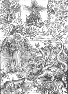 centuriespast: DÜRER, AlbrechtThe Revelation of St John: 10. The Woman Clothed with the Sun and the Seven-headed Dragon)1497-98Woodcut, 39 x 28 cmStaatliche Kunsthalle, Karlsruhe
