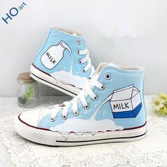 Color:light blue.Size here:4.5 B(M) US Women/3 D(M) US Men = EU size 35 = Shoes length 225mm Fit foot length 225mm/8.8in 5.5 B(M) US Women/4 D(M) US Men = EU si Student milk box hand-painted canvas shoes SE9189
