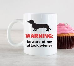 Warning; beware of my attack wiener Mug-Funny Birthday Gift- Gift for Husband by MysticCustomDesignCo on Etsy