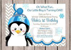 DIY PRINTABLE Penguin ONEderland, Winter Wonderland Invitation with Blue and Gray Chevron for Boys