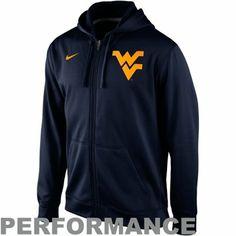 Nike West Virginia Mountaineers College KO Full Zip Logo Performance Hoodie – Navy Blue