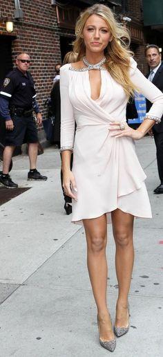 Blake Lively in Christian Louboutin Pigalle Strass Pumps & Jenny Packham Fall 2012 Beaded Long Sleeve White Dress.