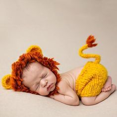 Baby Infant Cute Lion Style Crochet Costume Photography Props Clothes Set. #for_kids