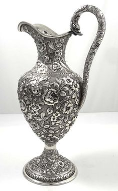 antique Schultz Baltimore sterling silver ewer with serpent handle,ca.1890