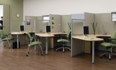 Office Furniture EZ sells new and used cubicles at discounted prices. We also have desks, office chairs, conference tables & more. Shop online or in-store. Modular Workstations, Office Workstations, Office Workspace, Office Decor, Office Cubicles, Office Ideas, Office Layouts, Office Partitions, Ikea Office